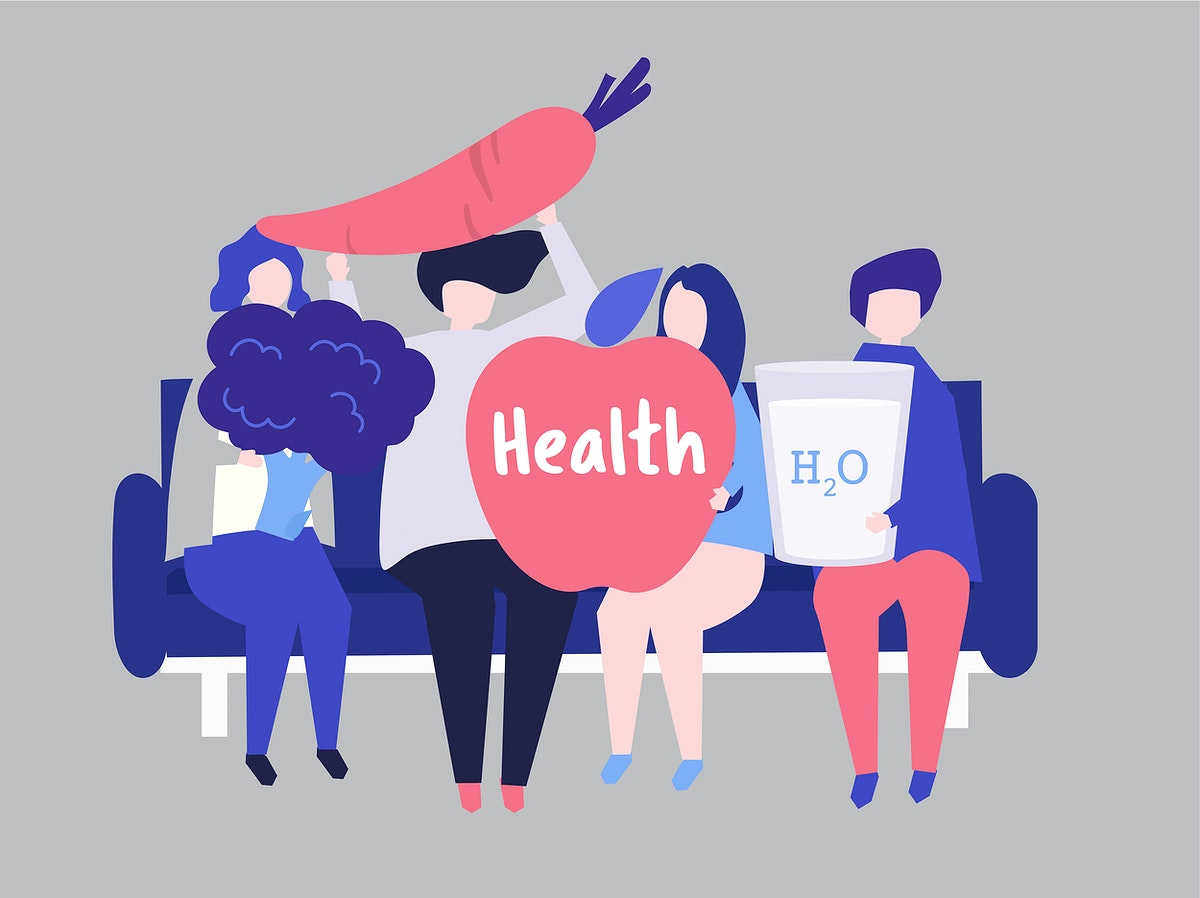 Characters of people holding health icons illustration