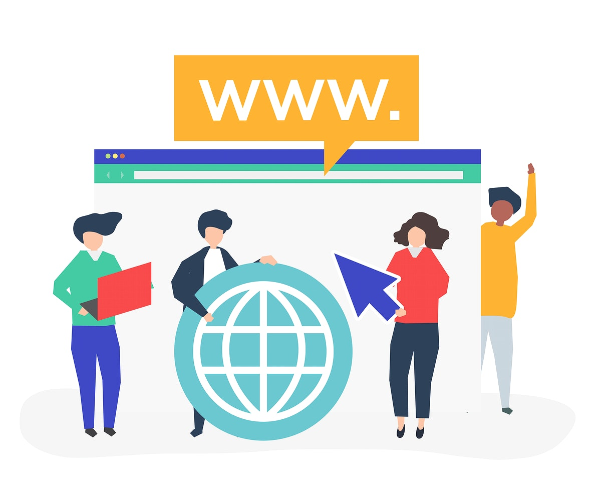 Characters of people holding internet search icons illustration