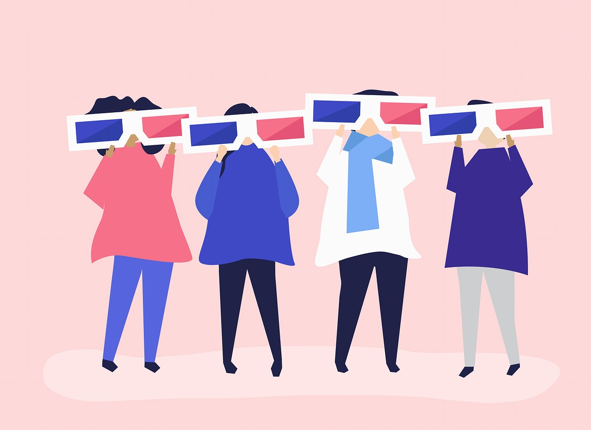 Characters of people holding 3d glasses illustration