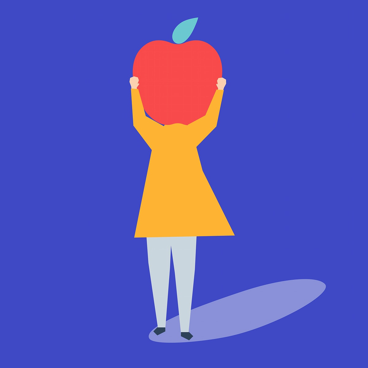 Character of a woman with an apple head illustration