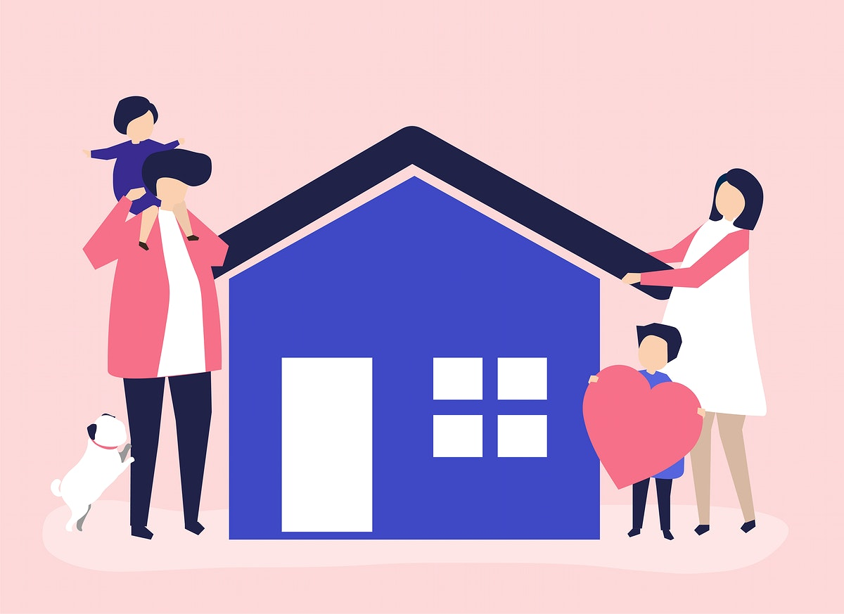 Characters of a loving family and their house illustration