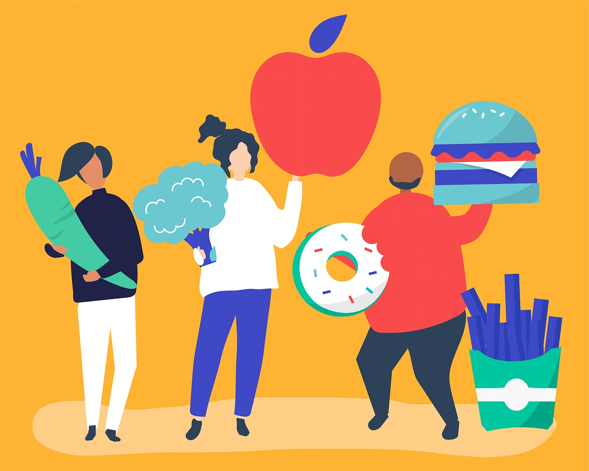 Characters of people holding food icons illustration