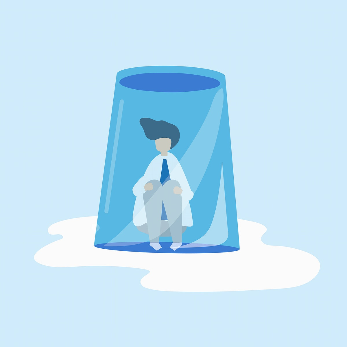 Character of a businessman feeling small and trapped illustration