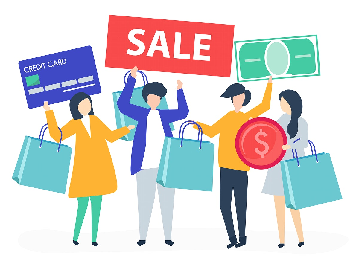 Characters of people holding shopping icons illustration