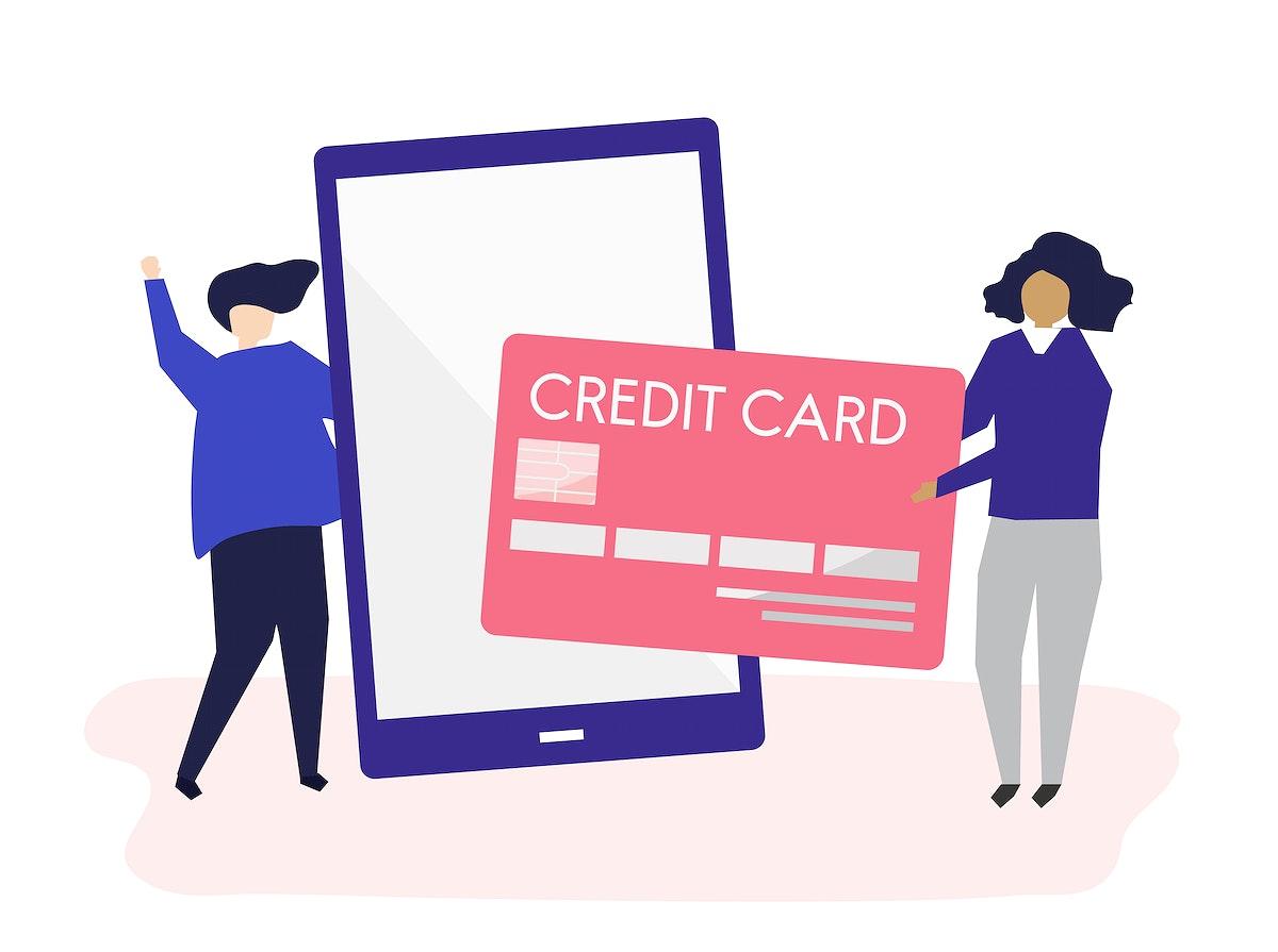 People making an online credit card transaction illustration