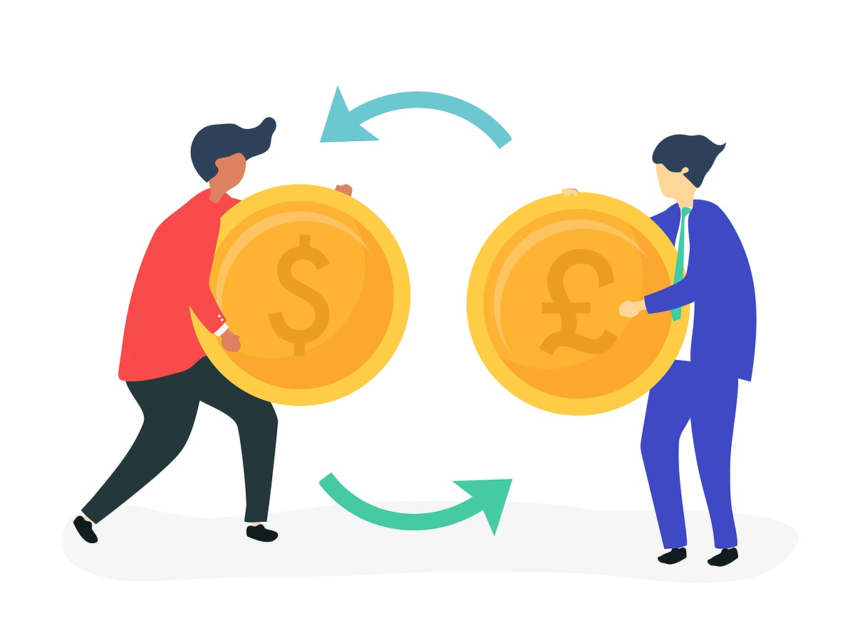 Characters of two businessmen exchanging currency illustration