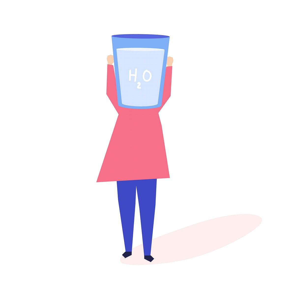 Woman with a glass of water as a head illustration