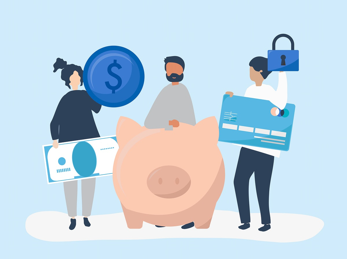 People holding savings and security icons illustration