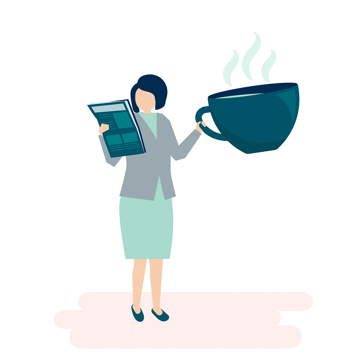 Businesswoman drinking coffee and reading a newspaper illustration