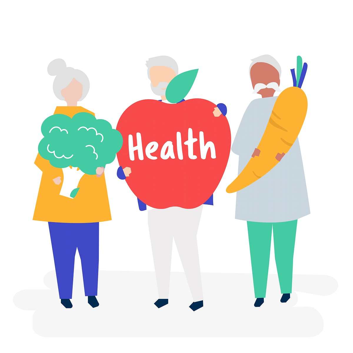 Characters of retired seniors and health concept illustration