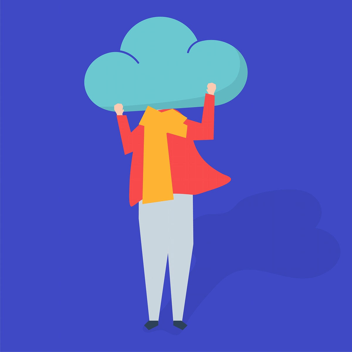 Character of a person with a cloud as a head illustration