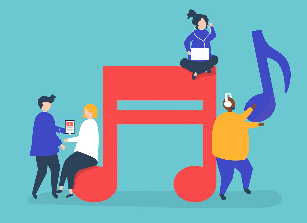 Characters of people listening to music illustration