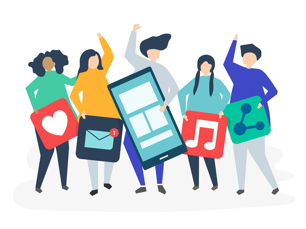 Characters of people holding social networking icons illustration