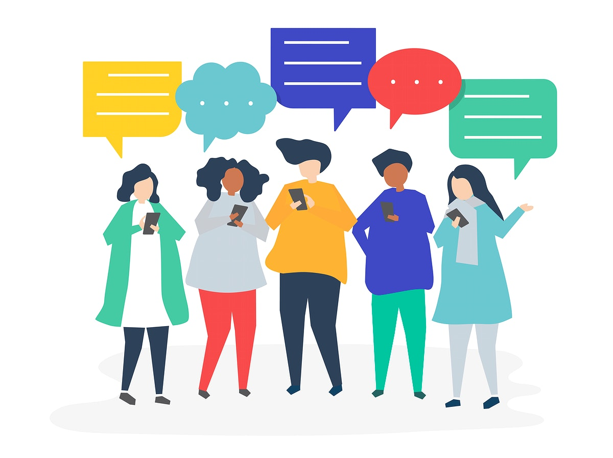 Characters of people chatting through smartphones illustration