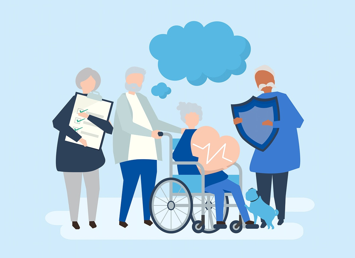Characters of senior people holding healthcare icons illustration