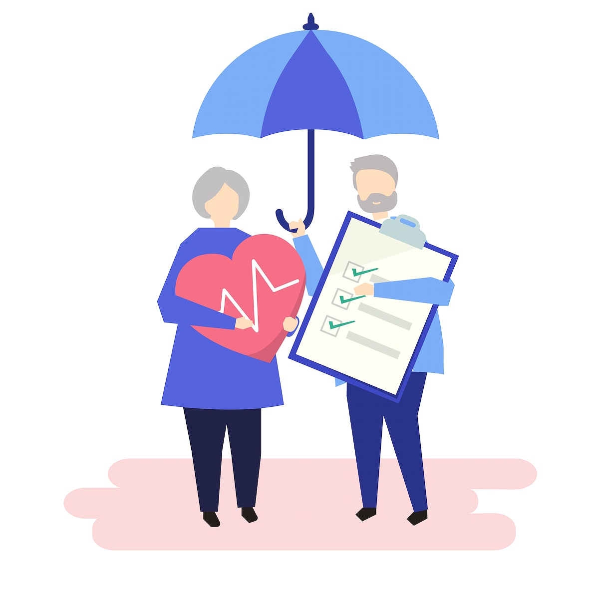 Characters of a senior couple and health insurance illustration