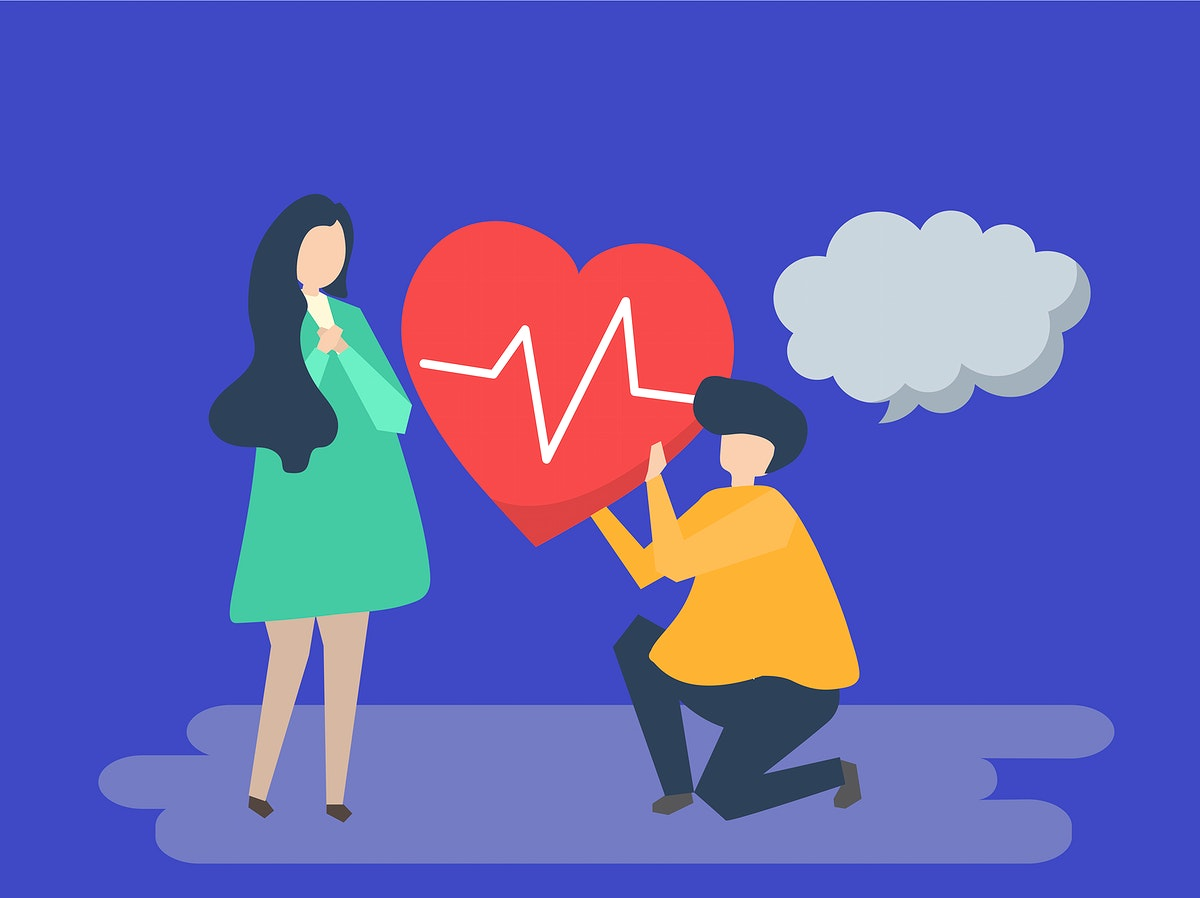 Guy holding a beating heart for a woman illustration