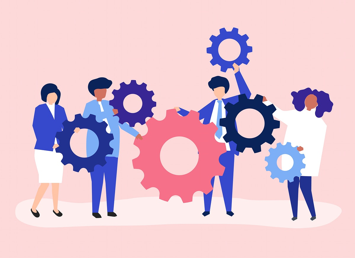 Characters of business people holding cogwheels illustration