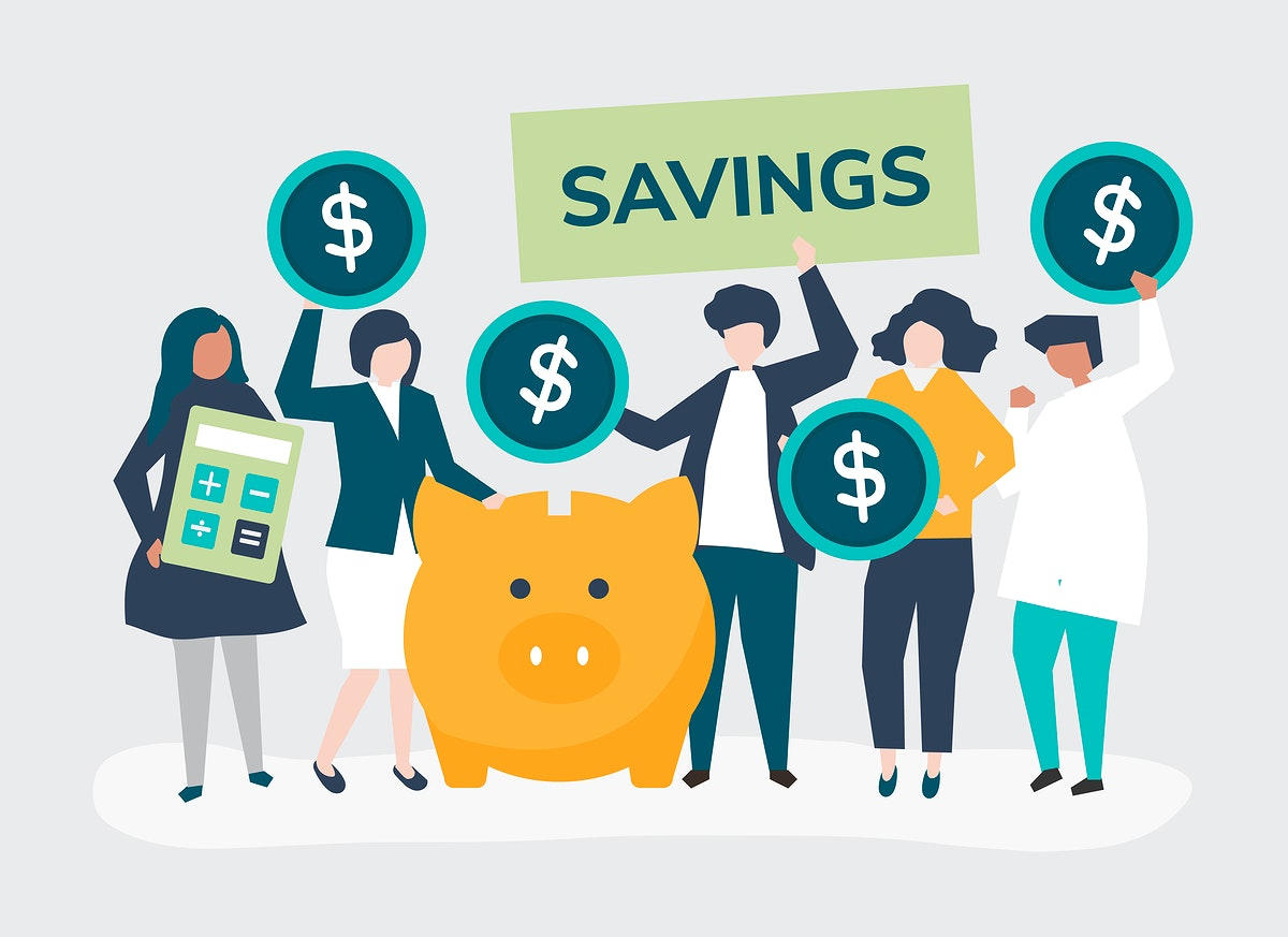 Diverse group of people and savings concept illustration