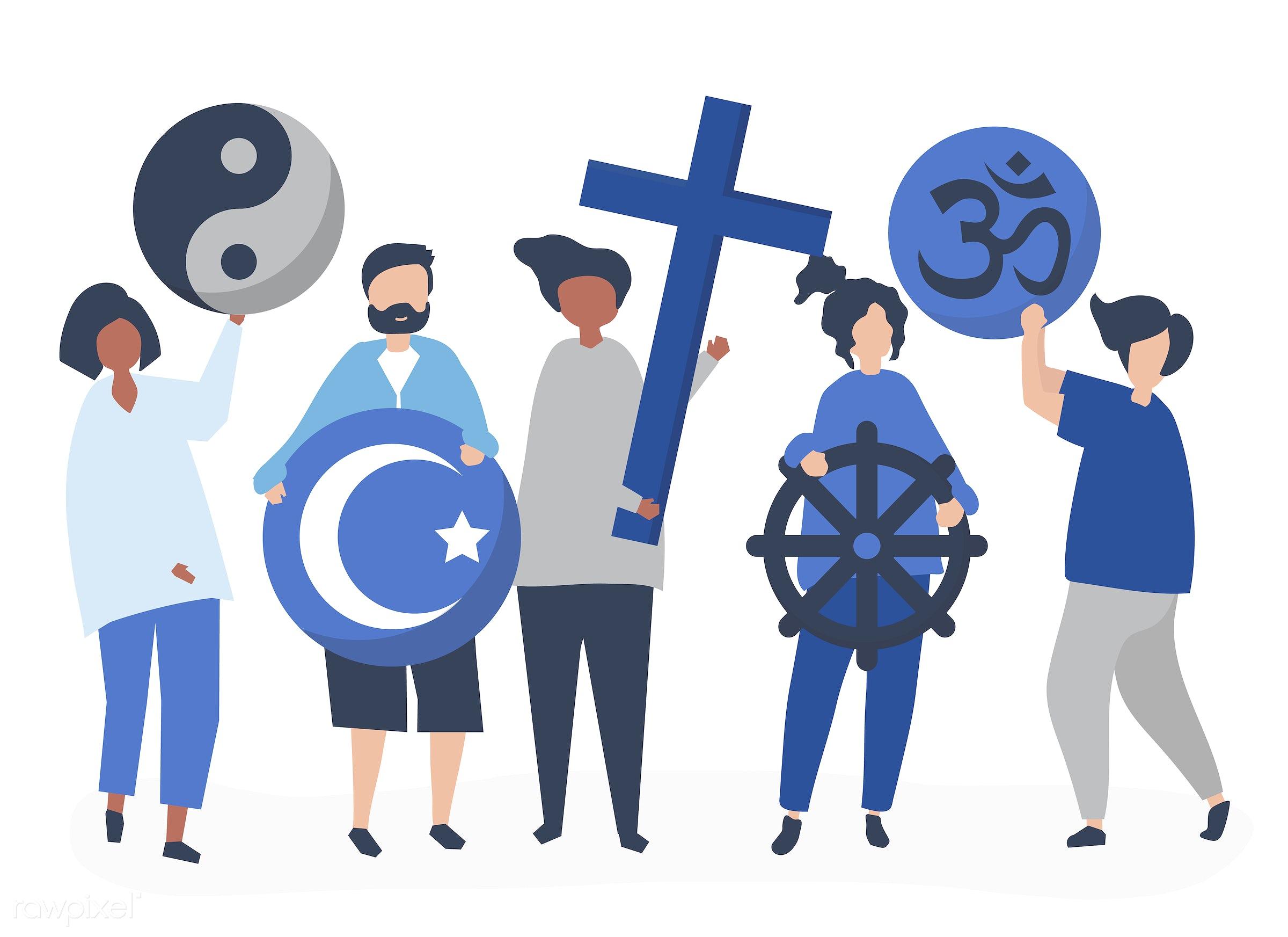 People Holding Diverse Religious Symbols Illustration Id 480574