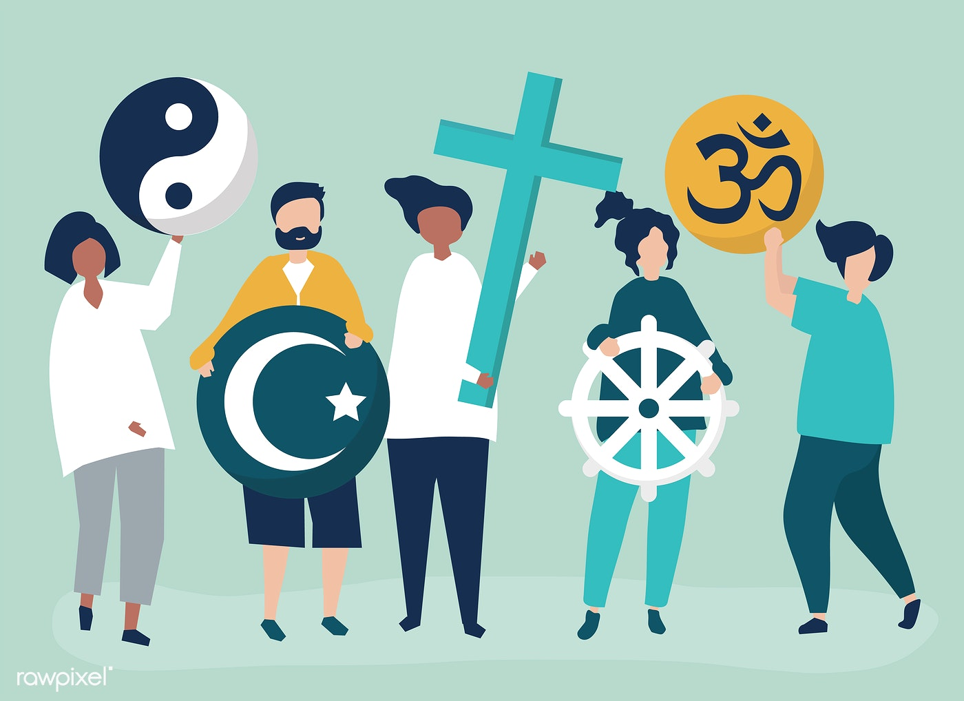 People Holding Diverse Religious Symbols Illustration Id 479616