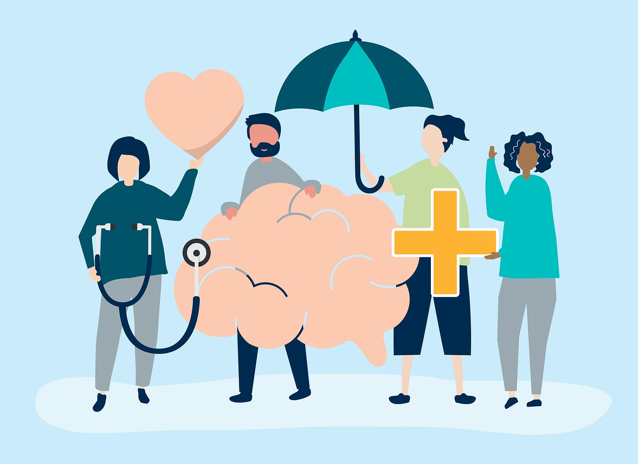 People Holding Icons Related To Mental Health Free Vector 534654