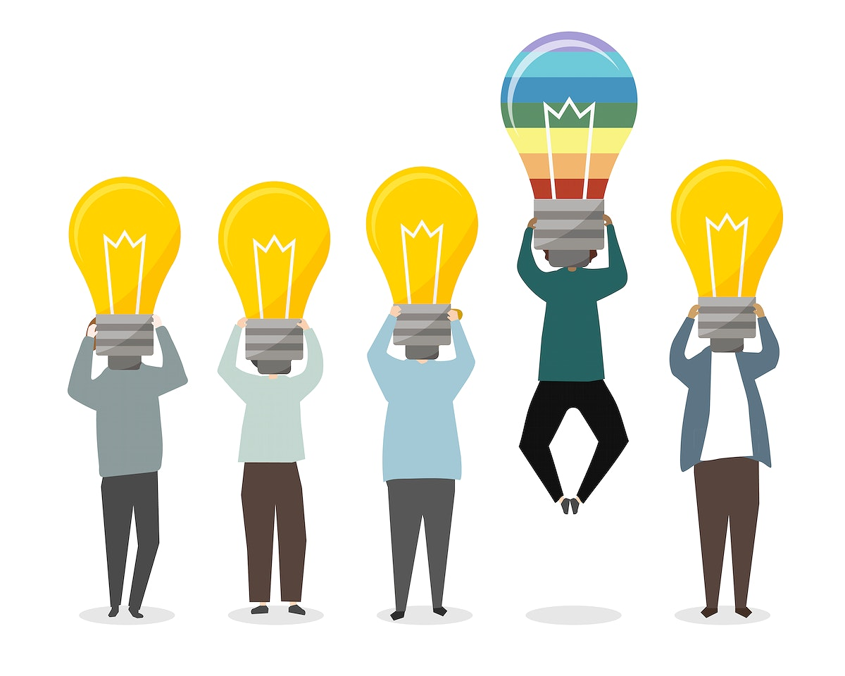 Special person with a rainbow light bulb illustration