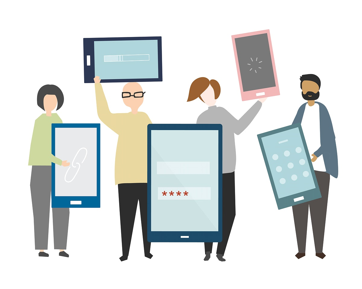 Diverse people holding smartphones illustration