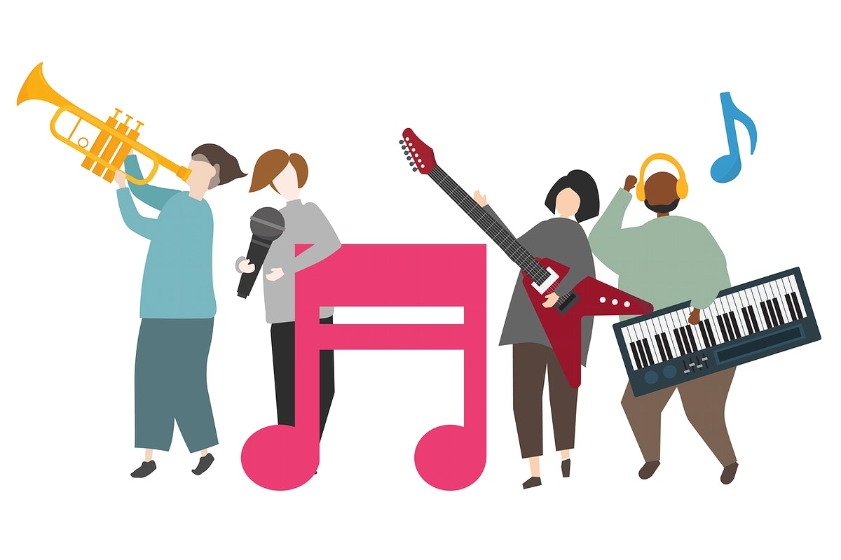 Musicians on stage playing music illustration