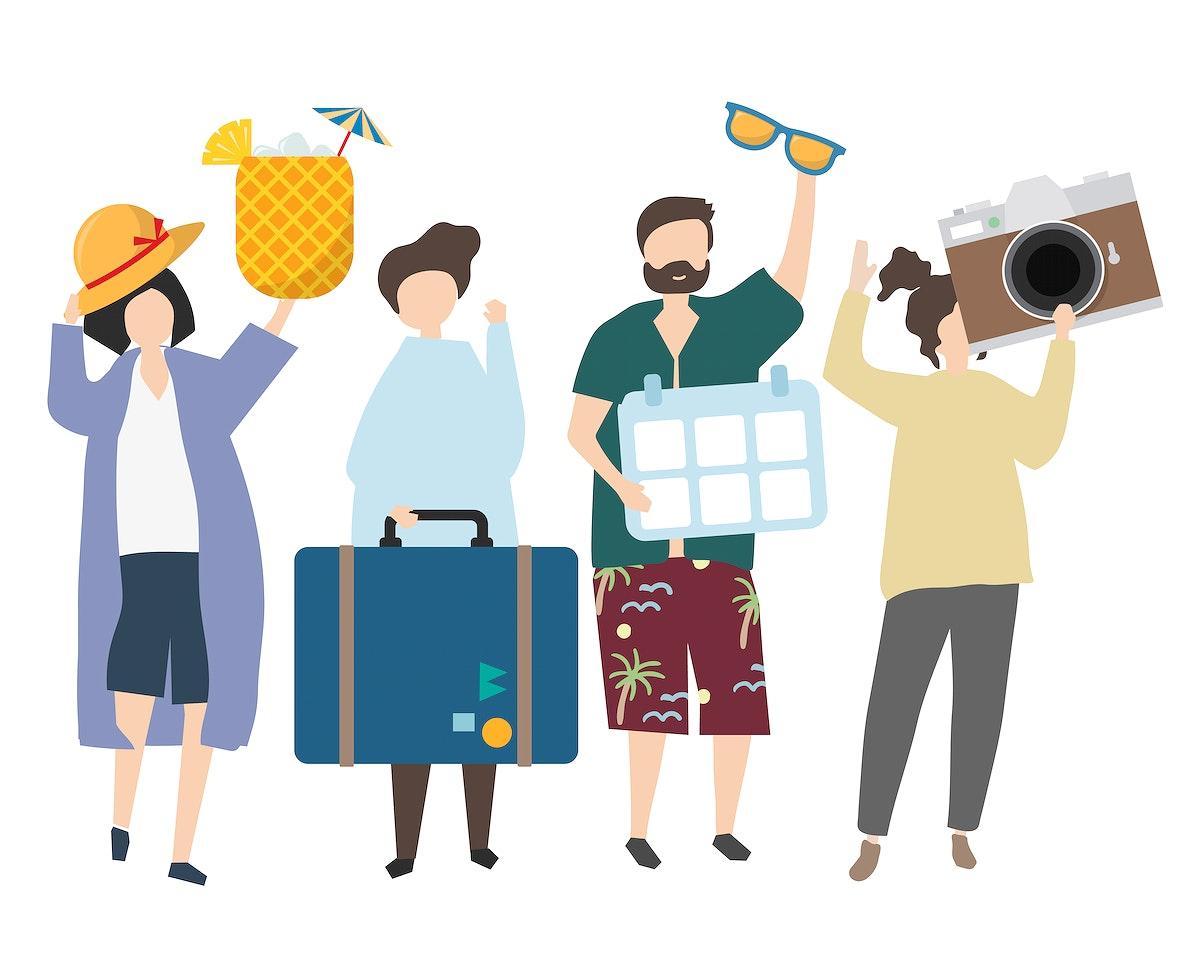 People traveling on holiday illustration
