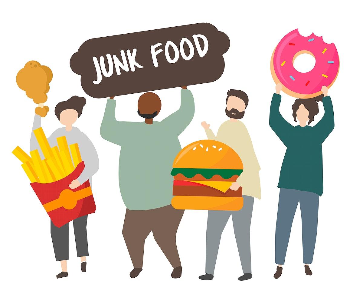 People holding junk food illustration