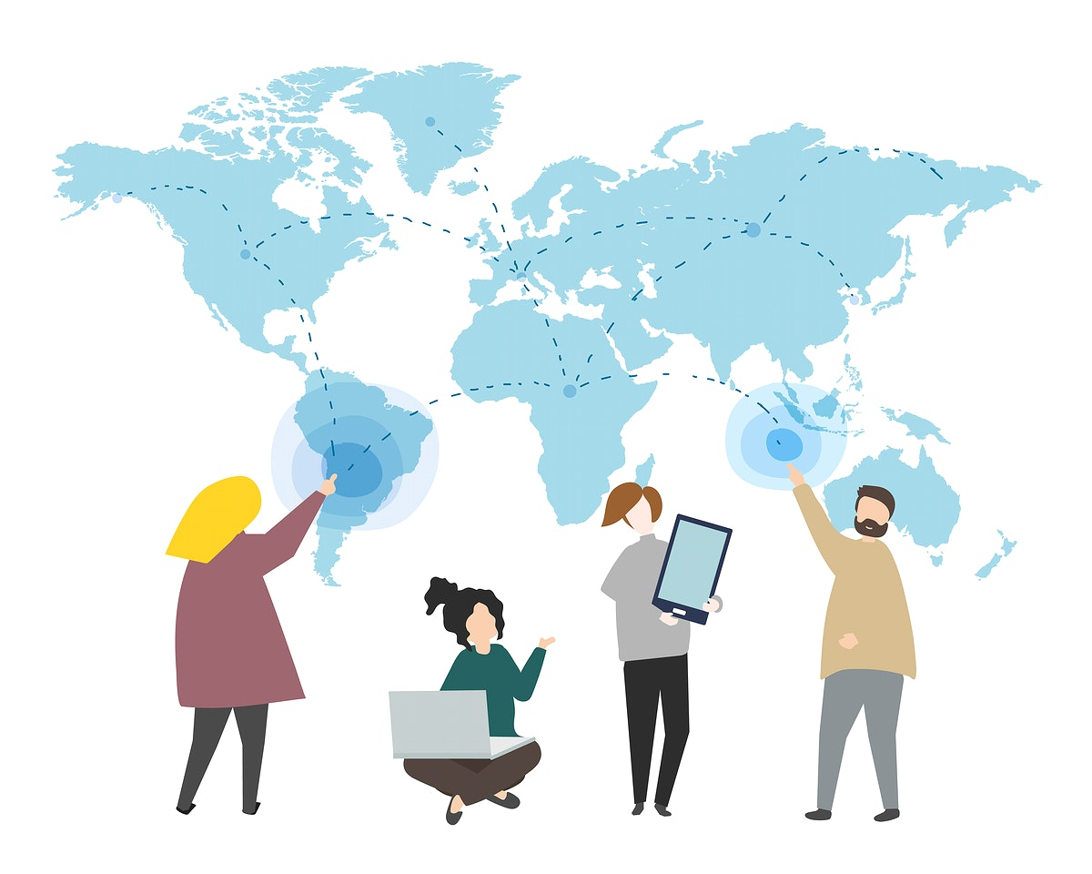 Online data and global connection illustration