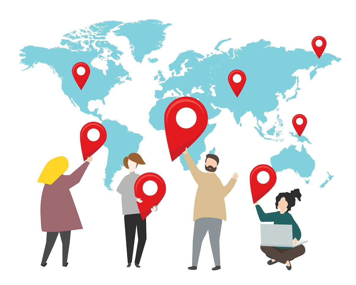 Location pins on the world illustration