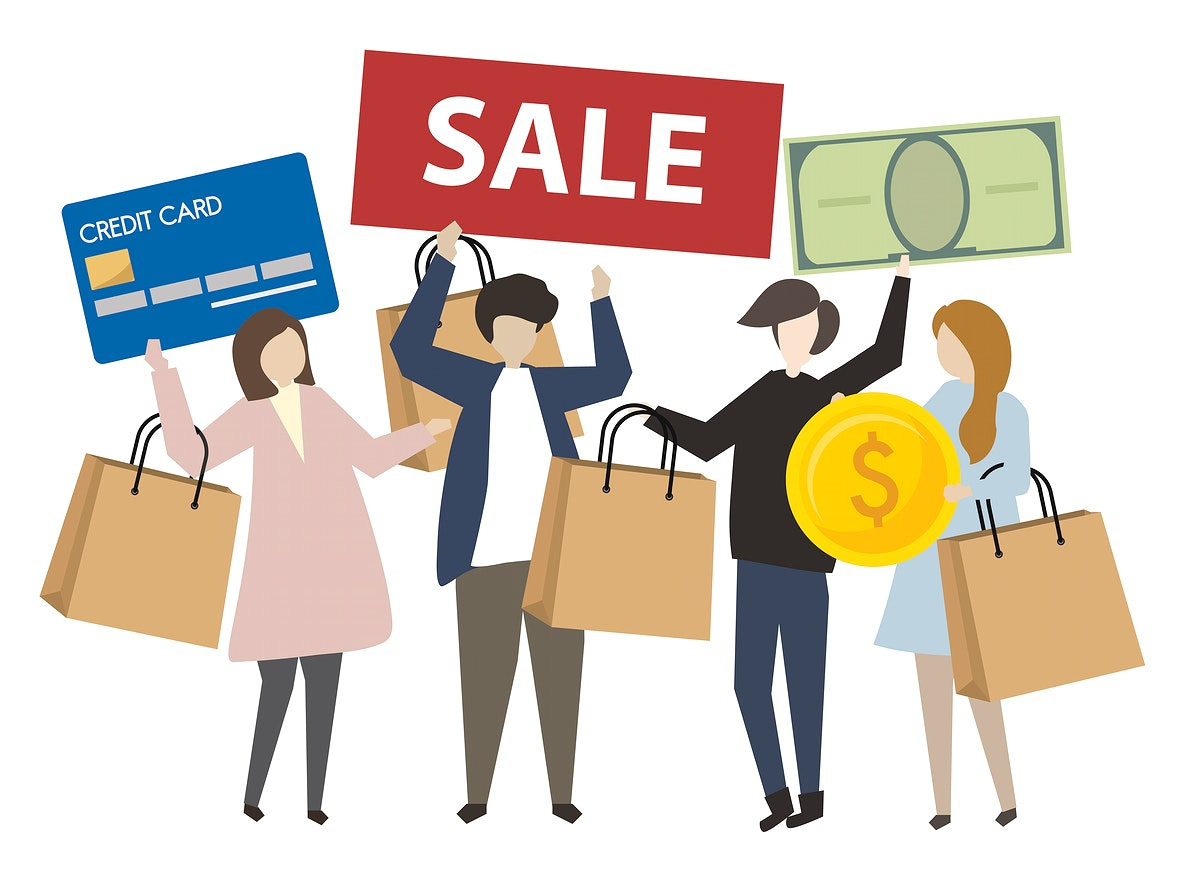 People holding shopping concept icons illustration