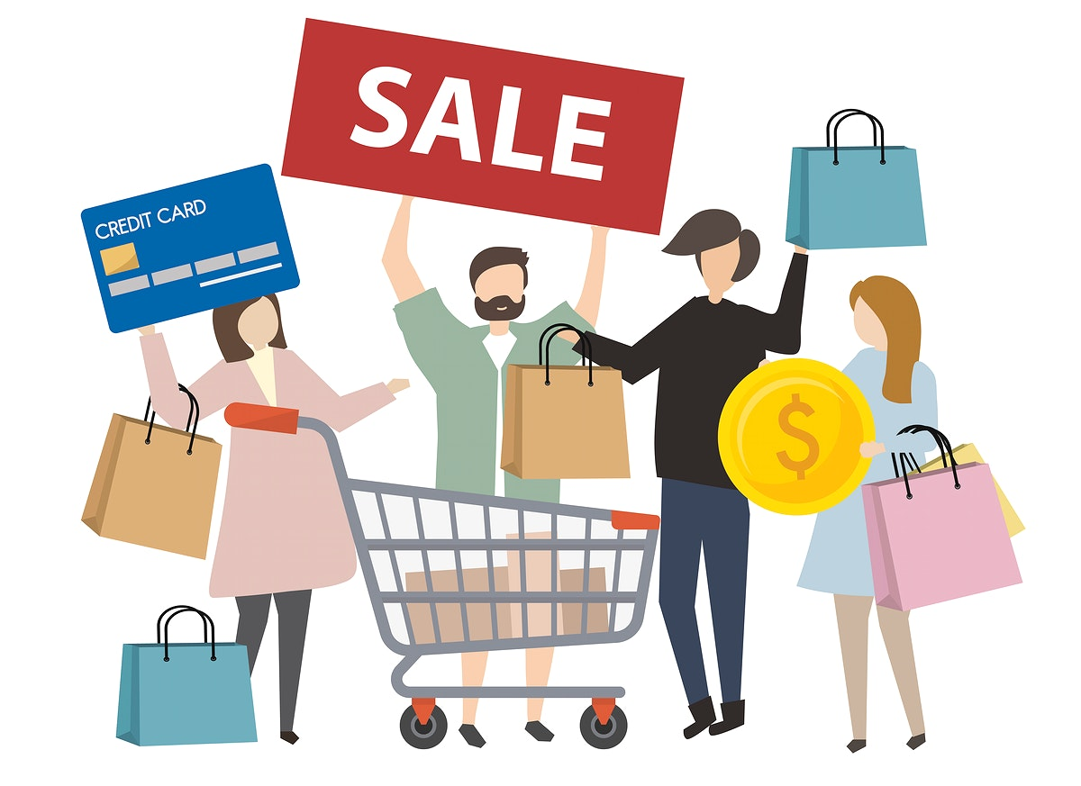 People shopping concept illustration