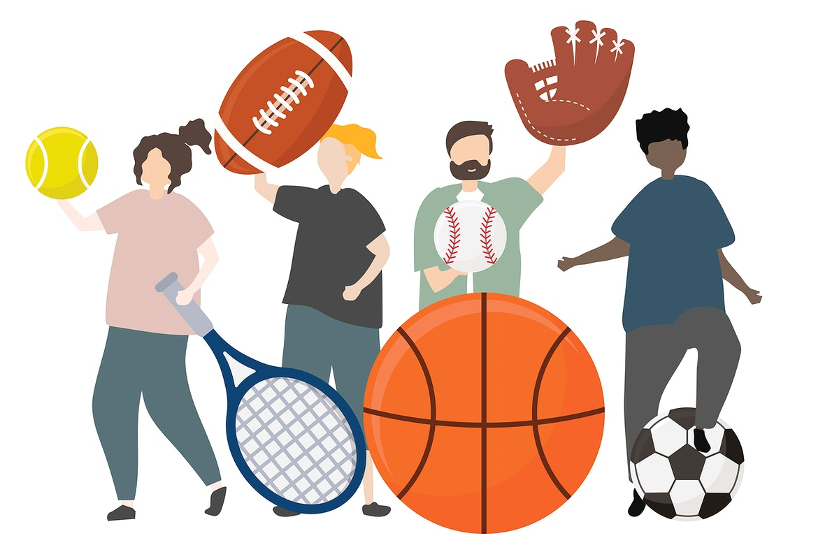 People with sports concept illustration
