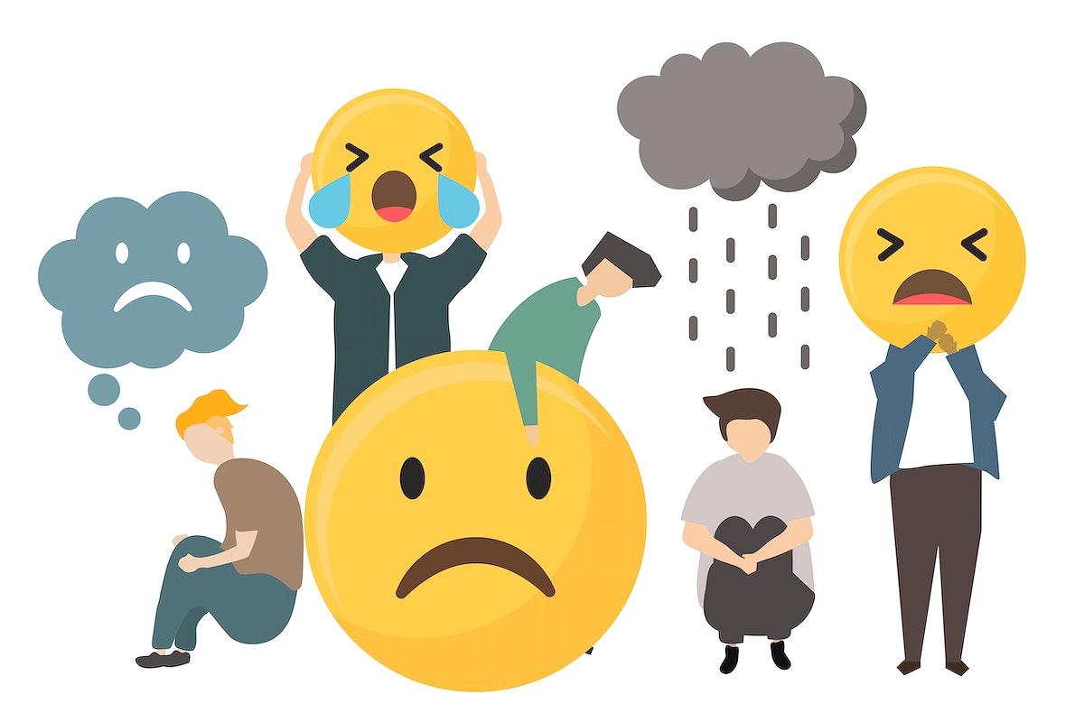 People with sad emotion emoticon icon illustration