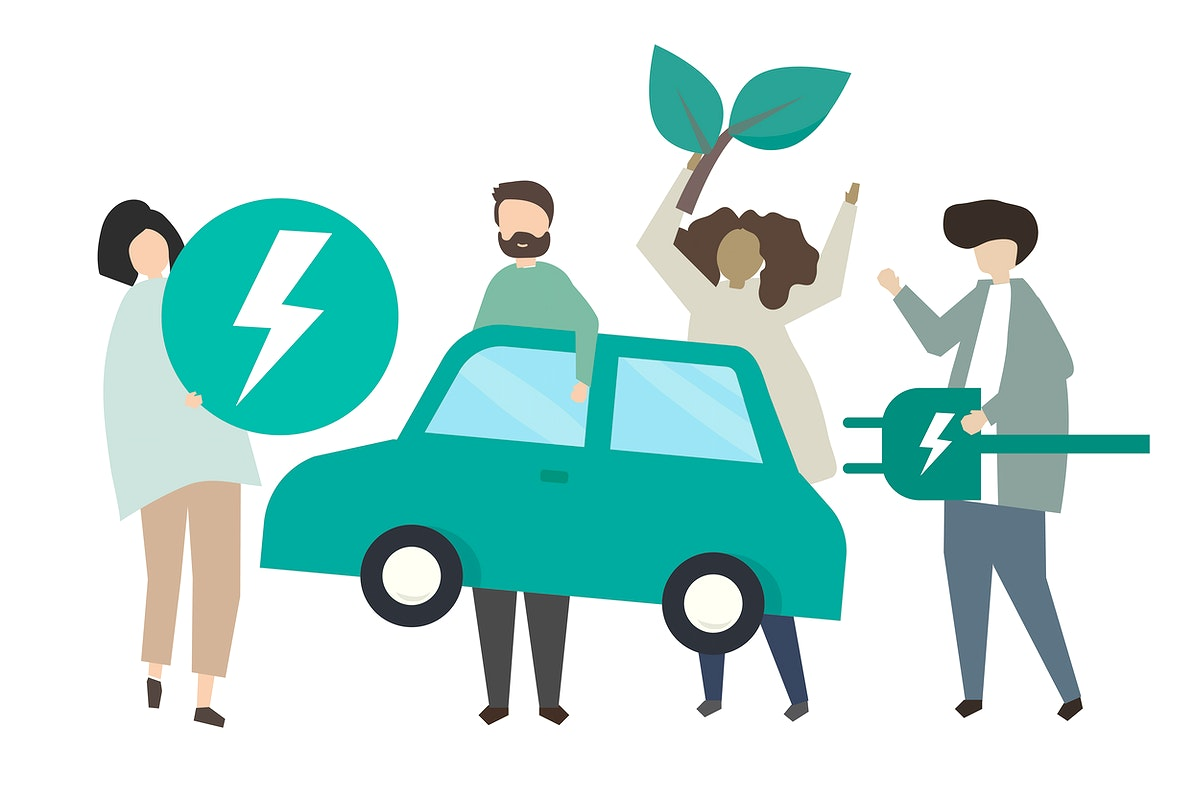People with green electric car illustration