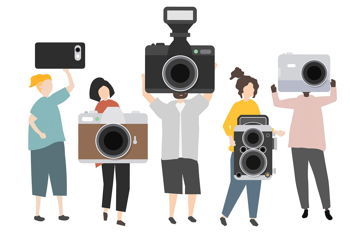 Group of photographers holding cameras illustration