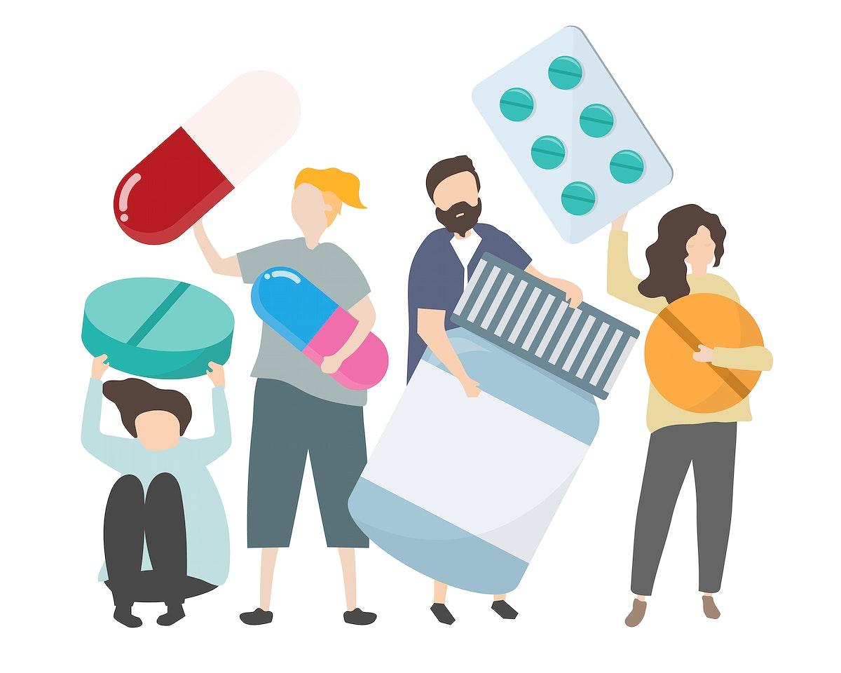 People holding pharmaceutical icons illustration