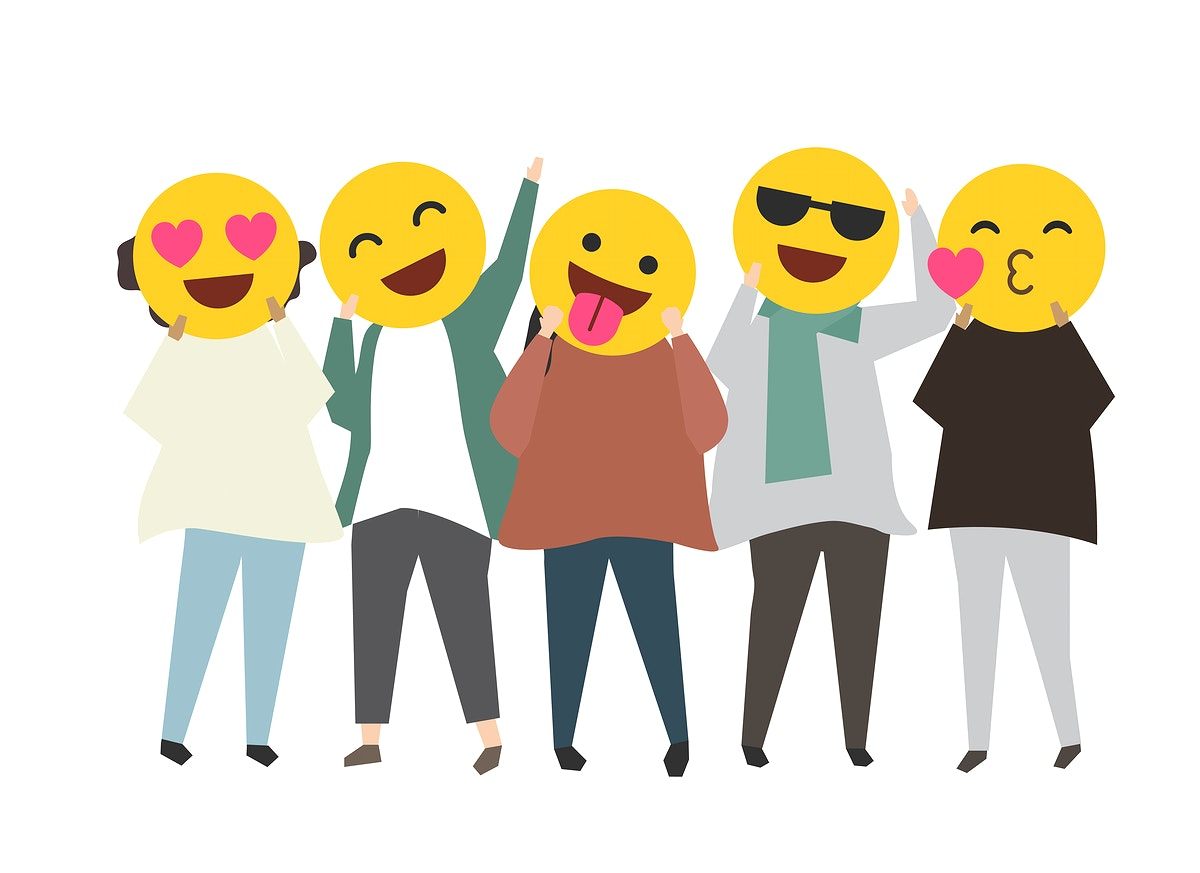 People with happy emotion emoticons illustration