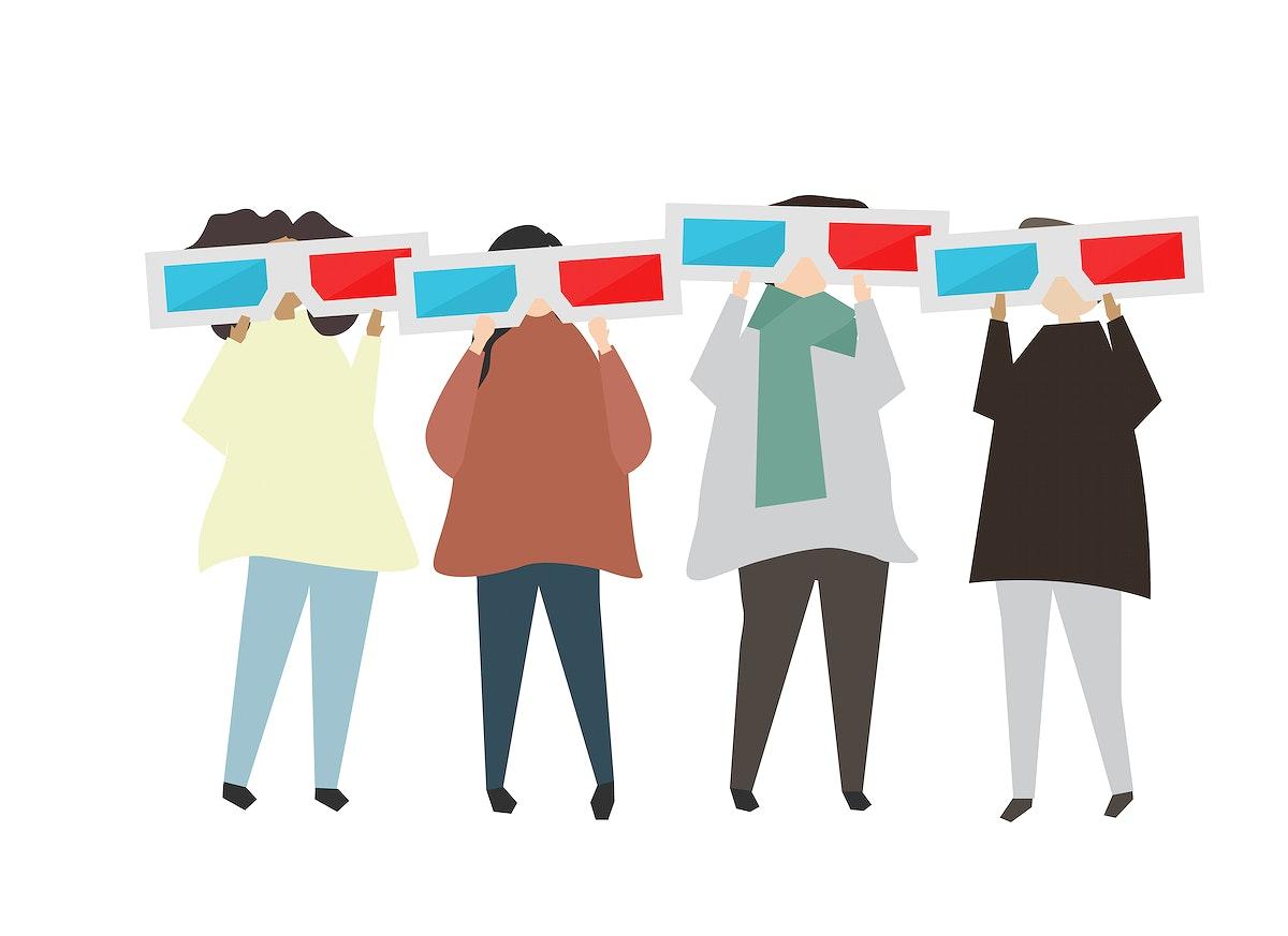People wearing 3d glasses illustration