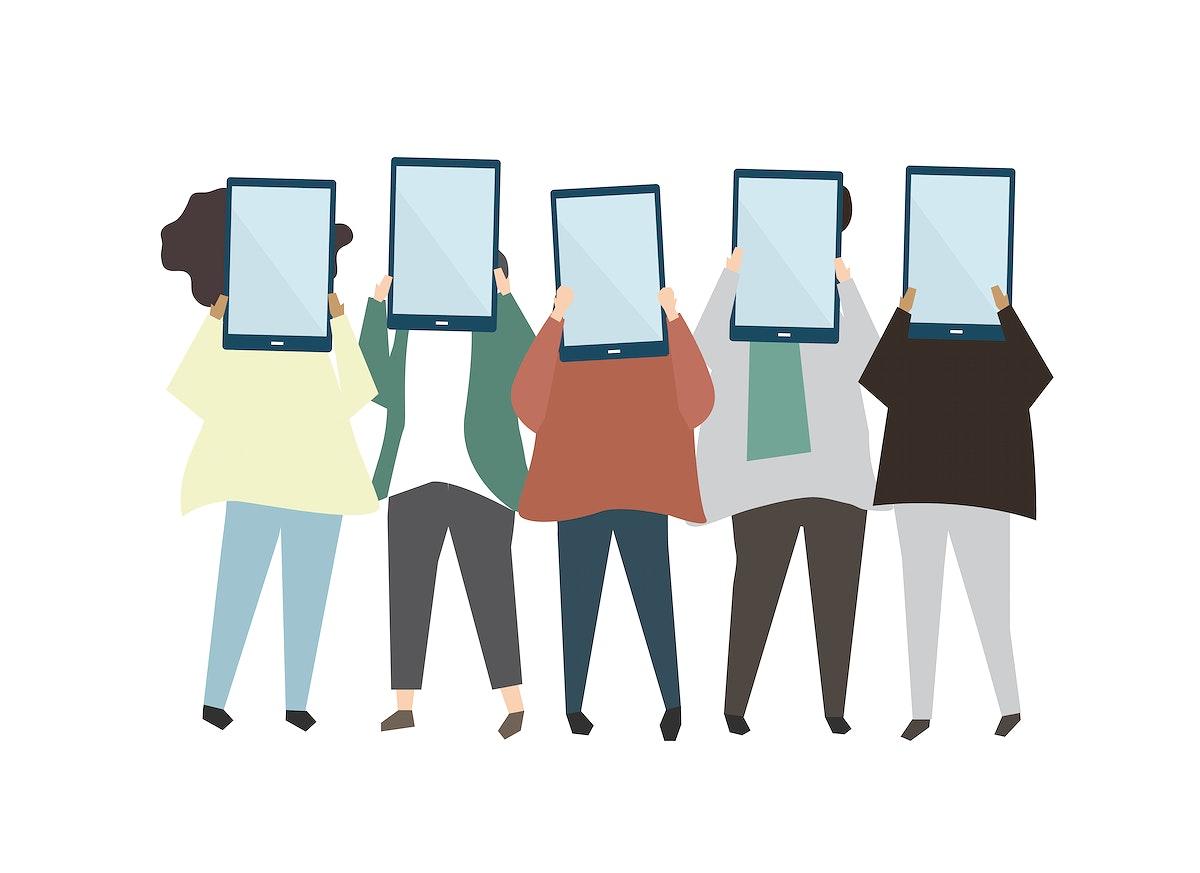 Group of friends holding digital tablets illustration