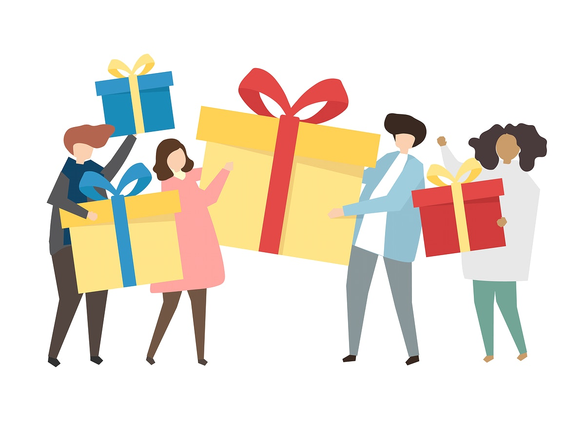 Friends holding gifts and presents illustration