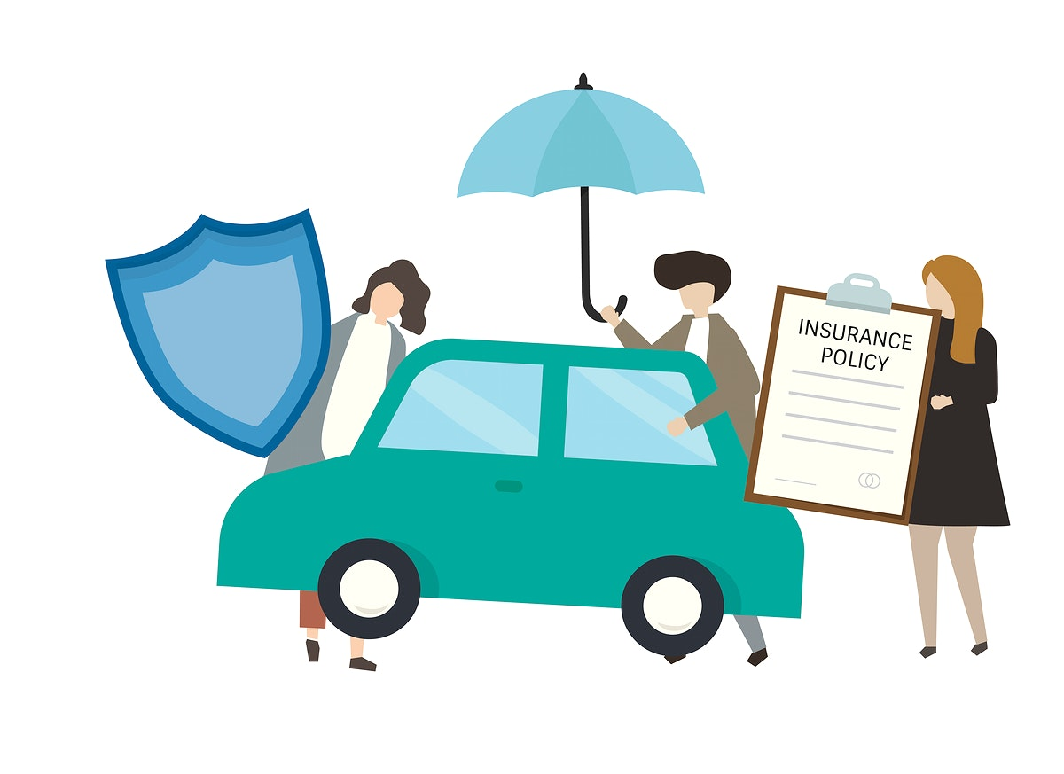 People with car insurance concept illustration