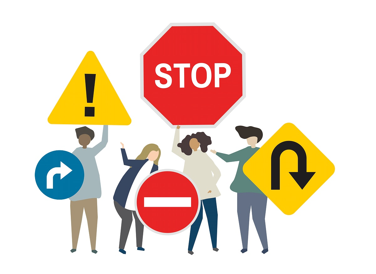 People with traffic sign concept illustration