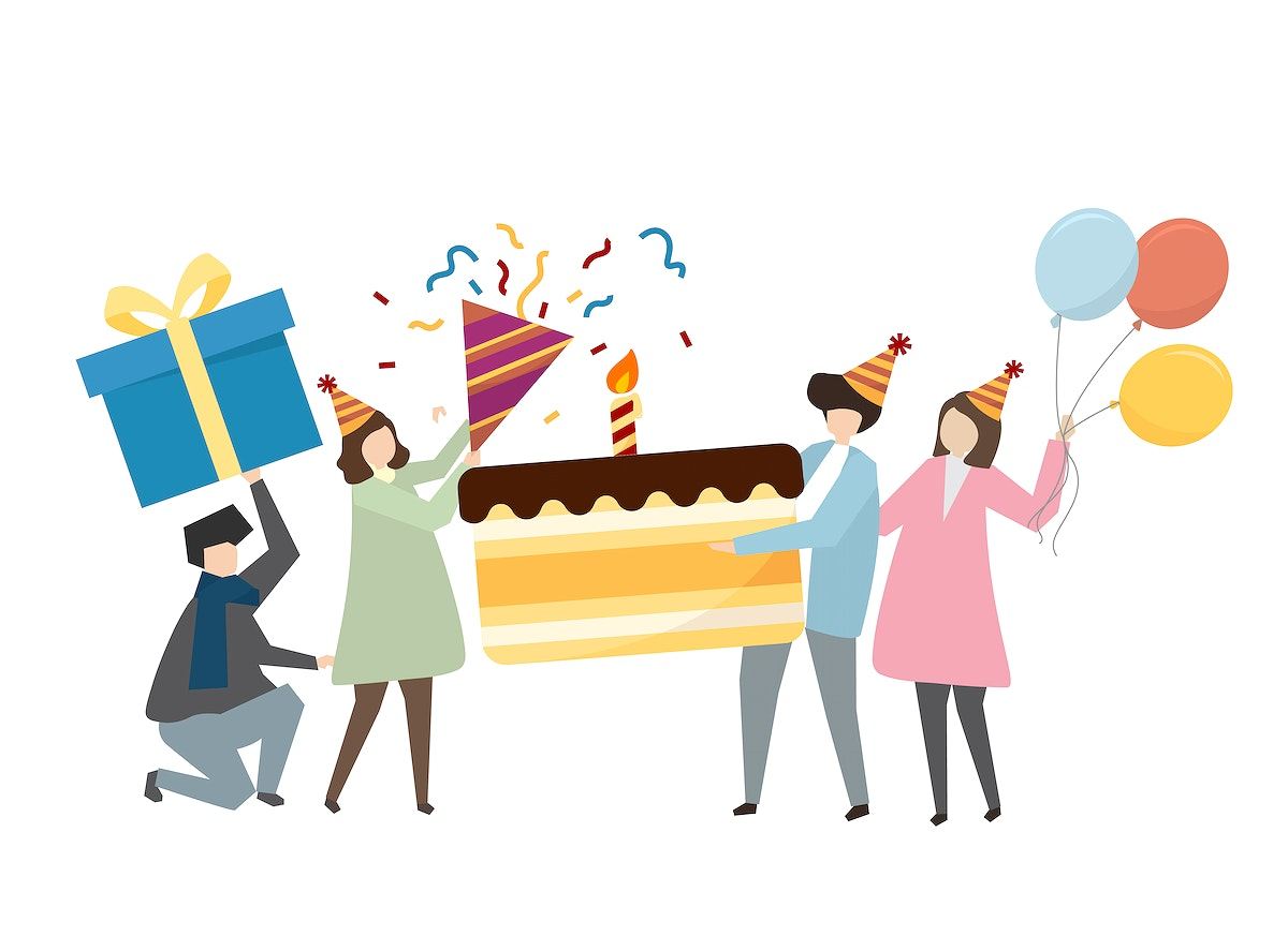 Friends and birthday party concept illustration