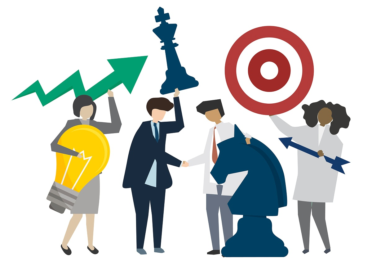 Business people strategy and cooperation illustration