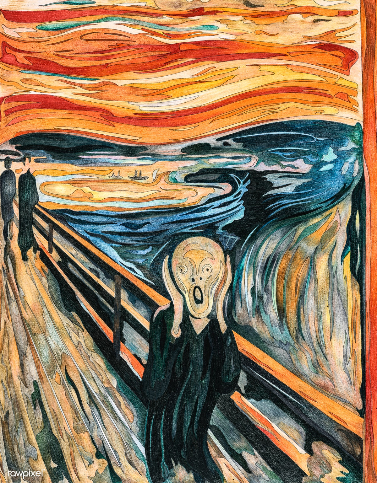 The Scream (1893) by Edvard Munch adult color.. | Free