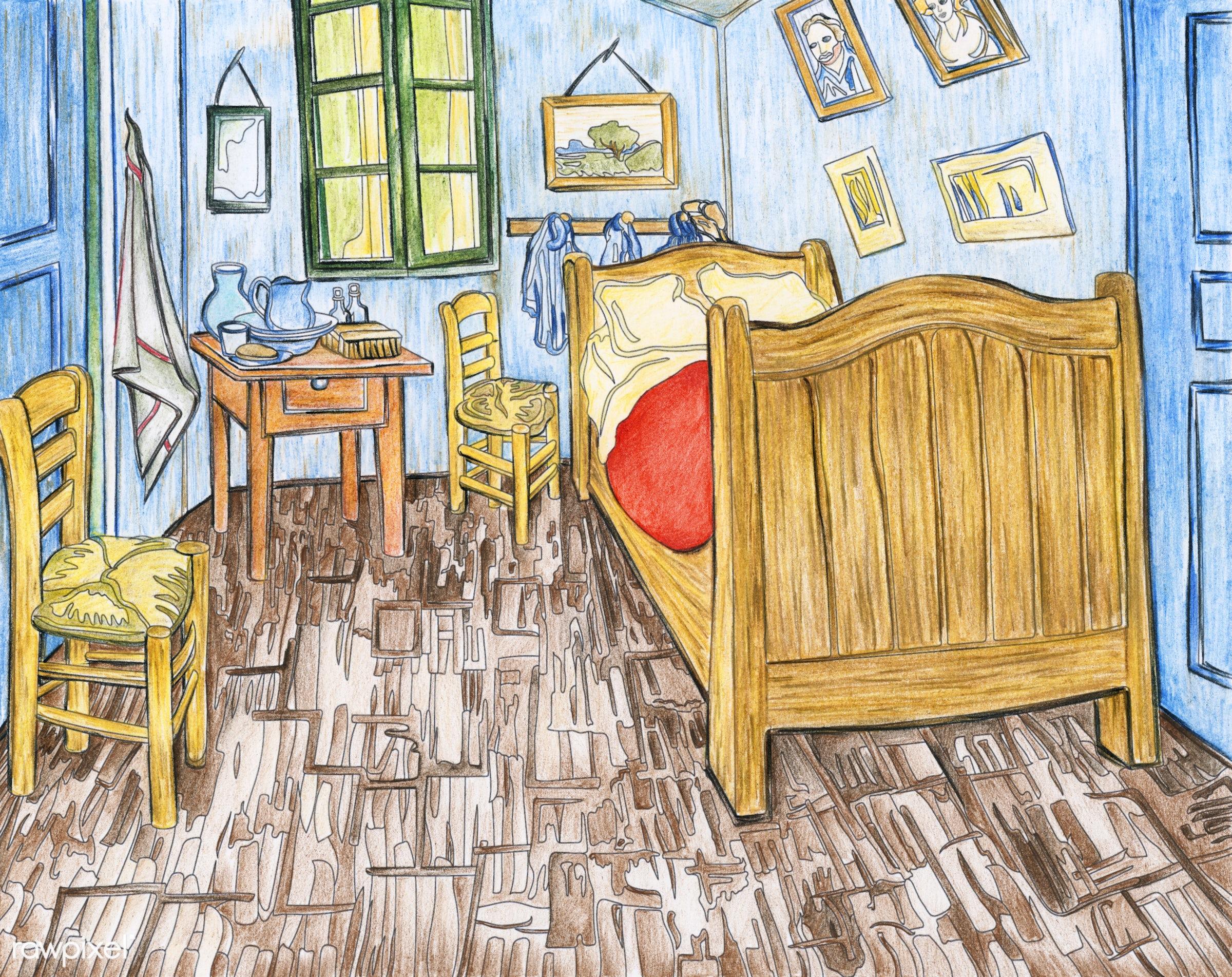 Bedroom in Arles (1888) by Vincent van Gogh adult coloring page - ID ...